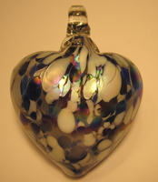 Image Burnished Blue and White Glass Heart