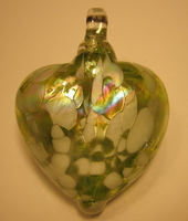 Image Burnished Green and White Blown Glass Heart