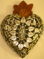 Image Sacred Heart with Milagros, Black