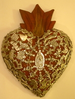 Image Sacred Heart with Milagros, Red, Large