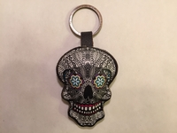 Image Leather Calavera Keychain B/W