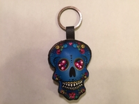Image Leather Calavera Keychain, Indigo, Beaded Eyes