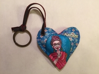 Image Leather Heart with Frida Keychain, Blue