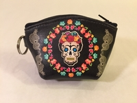 Image Leather Frida Coin Purse, Black, Squared