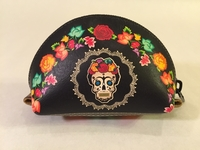 Image Leather Frida Skull Coin Purse, Black