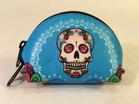 Image Leather Calavera Coin Purse, Turquoise