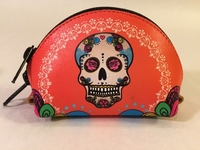Image Leather Calavera Coin Purse, Orange