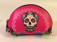 Image Leather Catrina Coin Purse, Fuchsia