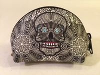 Image Leather Calavera Coin Purse, B/W