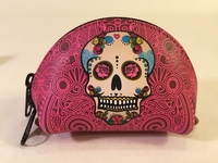 Image Leather Calavera Coin Purse, Pink