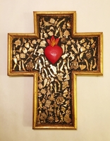 Image Gilded Cross with Milagros and Sacred Heart