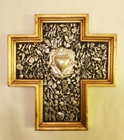 Image Gilded Cross with Milagros and Silver Plated Sacred Heart