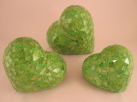 Image Green Mosaic Hearts, Set of 3