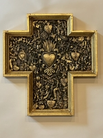 Image Gilded Cross with Milagros and Large Sacred Heart