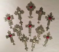 Image Set of 10 Small Tin Crosses