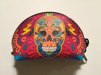 Image Leather Calavera Coin Purse, Multicolor Reddish