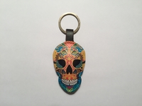 Image Leather Calavera Keychain, Yellow