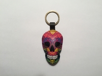 Image Leather Calavera Keychain, Multicolor