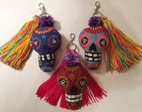 Image Embroidered Calavera with Tassel Keychain