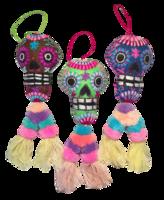 Image Embroidered Calavera Ornament, Double Pompom