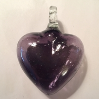 Image Mexican Blown Glass Heart, Purple