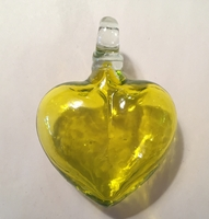 Image Mexican Blown Glass Heart, Yellow