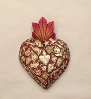 Image Sacred Heart with Milagros, Red, Medium