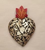 Image Sacred Heart with Milagros, Black, Medium