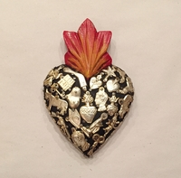 Image Sacred Heart with Milagros, Black, Small