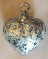 Image Clear Heart with Silver Leaf