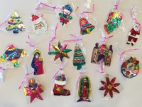 Image Assorted Christmas Tin Ornaments, S/10