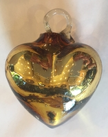 Image Mexican Blown Glass Heart, Gold
