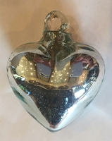 Image Mexican Blown Glass Heart, Silver