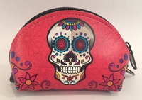 Image Leather Calavera Coin Purse, Red