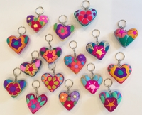 Image Miniature Embroidered Heart Keychain, S/6