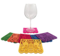 Image Pair of Doves Papel Picado Coasters, Set of 7