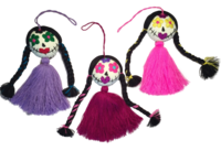 Image Embroidered Catrina Ornament, Single Pompom