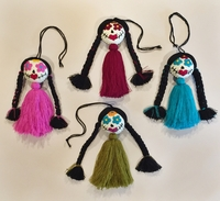Image Embroidered Catrina Ornament, Single Pompom