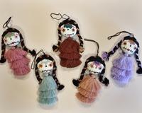 Image Embroidered Catrina Ornament, Cascading Pompom