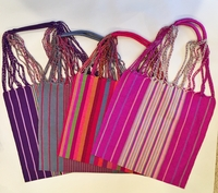 Image Striped Loom Embroidered Tote