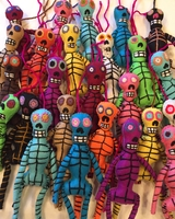Image Hand Embroidered Colorful Skeleton
