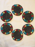 Image Chamula Coaster, Gray, Set of Six