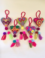 Image Heart Ornament with Double Pompoms