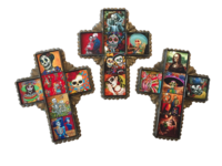 Image Tin Cross with Day of the Dead Tiles, Small