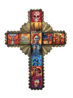 Image Tin Cross with Day of the Dead Tiles, Large