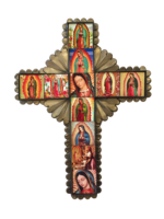 Image Tin Cross with Guadalupe Tiles, Large