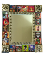 Image Tin Mirror with Day of the Dead Tiles