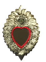 Image Tin Sacred Heart with Mirror, Large, (A)