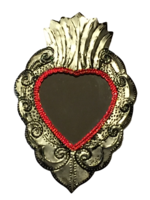 Image Tin Sacred Heart with Mirror, Large, (B)
