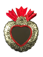 Image Tin Sacred Heart with Mirror, Large, (D)